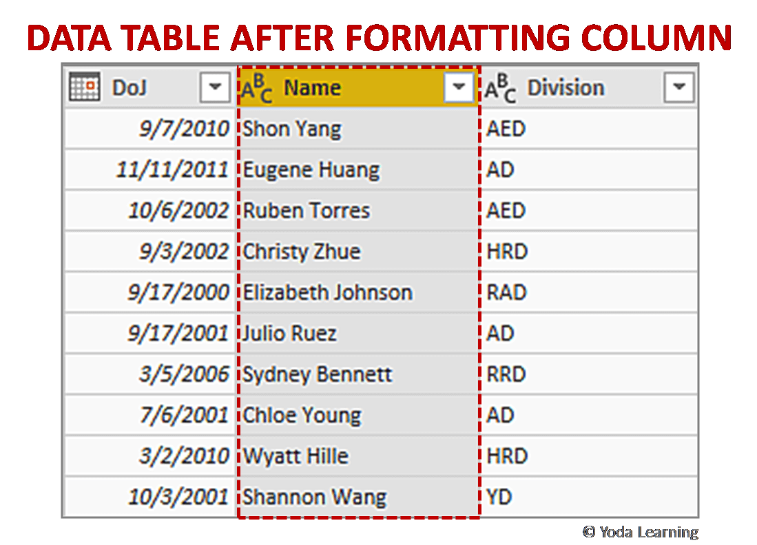 DATA TABLE AFTER FORMATTING COLUMN