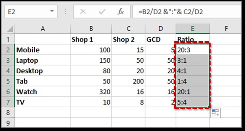 calculate ratios in excel