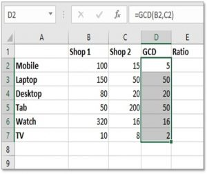 calculate ratios in excel