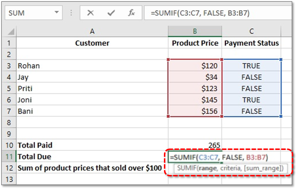 sumif function in excel with example