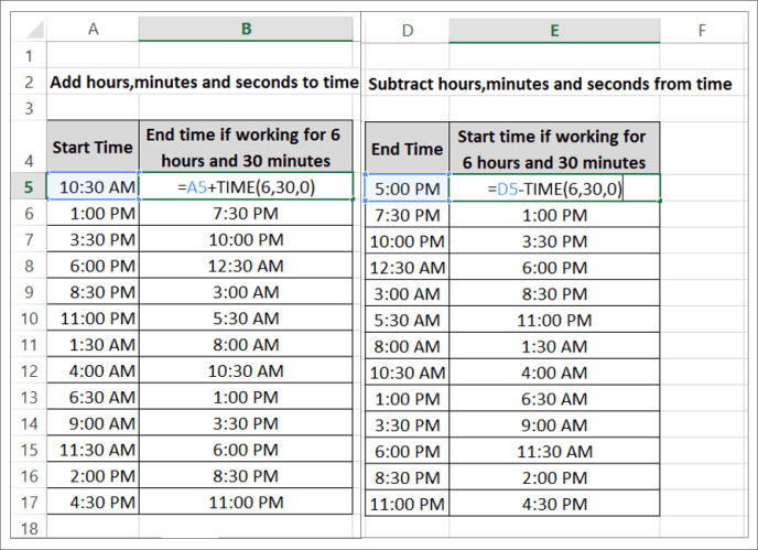 how to calculate time elapsed in Excel