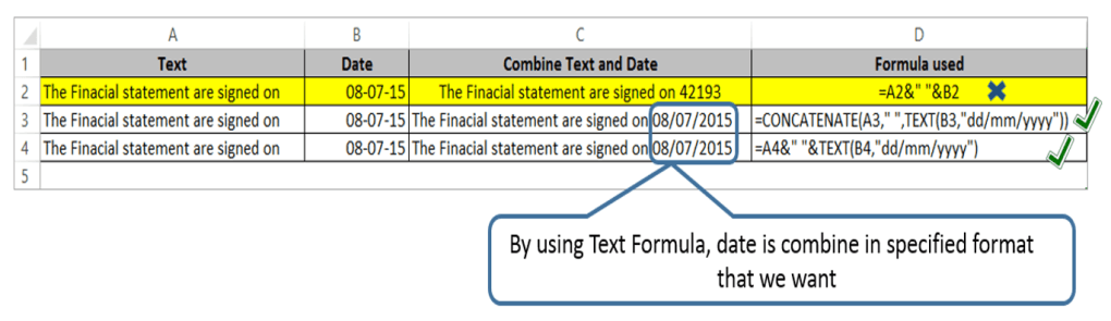 How to combine text with Date & Time in Excel using Concatenate