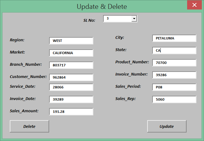 how to update and delete using excel vba userform vba