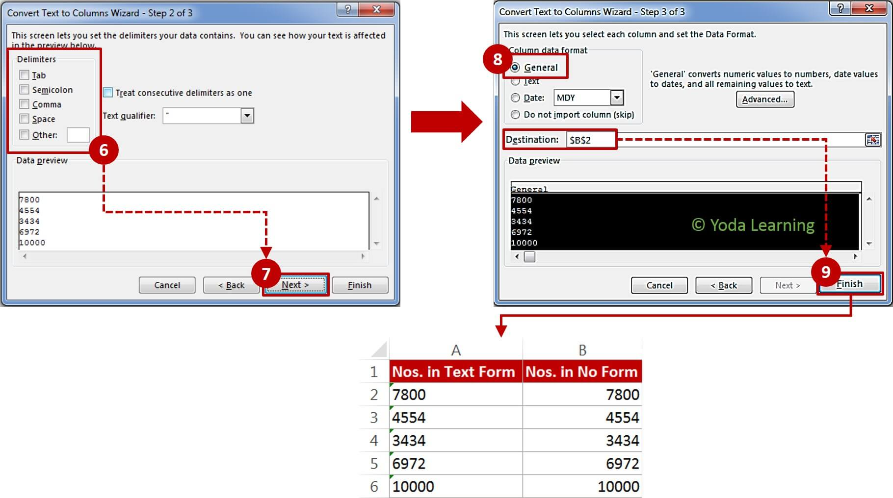 Steps to Convert Text number to Number (2 & 3)