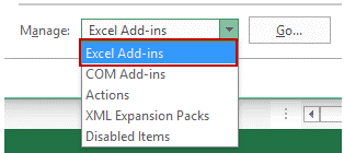 Excel Option & Add - Ins Select - 2