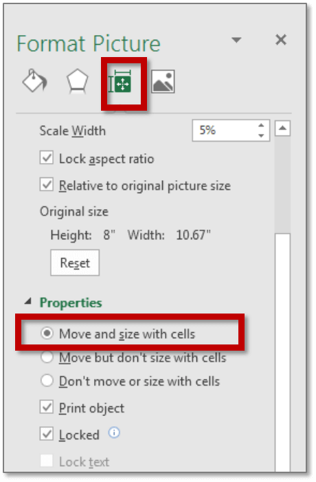 Click on Size and properties to lock images in cell