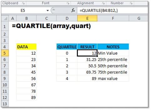 Quartile function in Excel