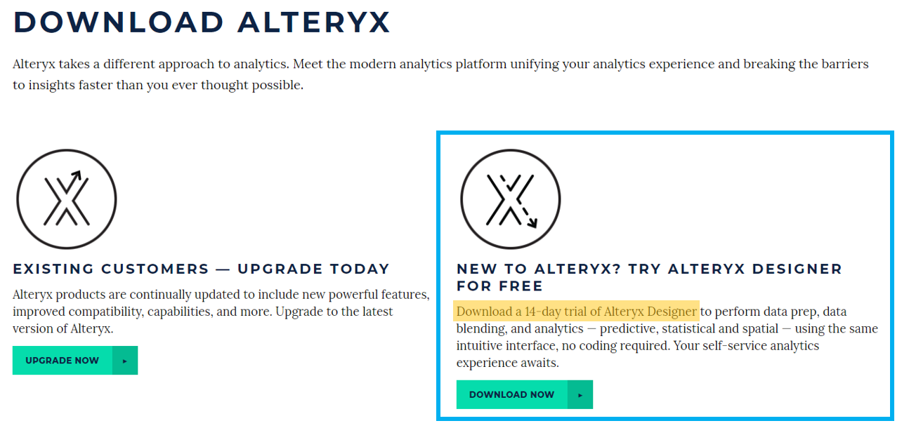 Download Alteryx for 14-day Trial