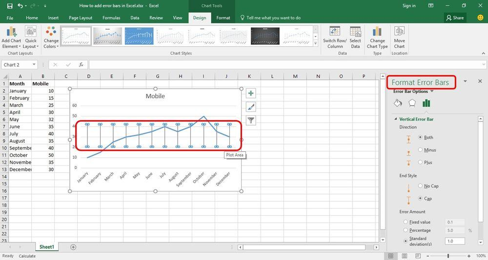 How to add Error Bars in Excel using formatting