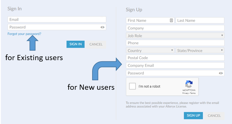 Sign in and Sign up Page for Alteryx Download