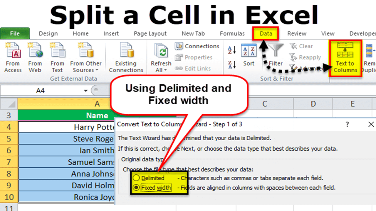 Split Cells with Text to Columns in Excel